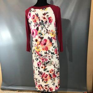 Reborn J Dresses - Stretchy Floral Baseball Tee Dress 3/4 Sleeves L